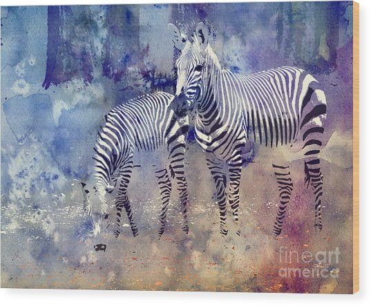 Zebra Paradise Wood Print
