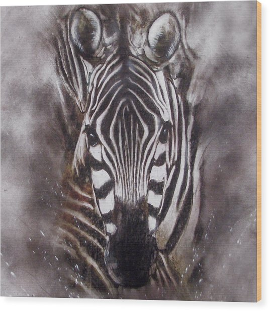 Zebra Splash Wood Print