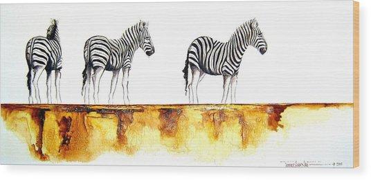 Zebra Trio - Original Artwork Wood Print