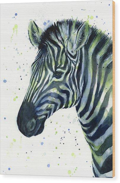 Zebra Watercolor Blue Green  Wood Print