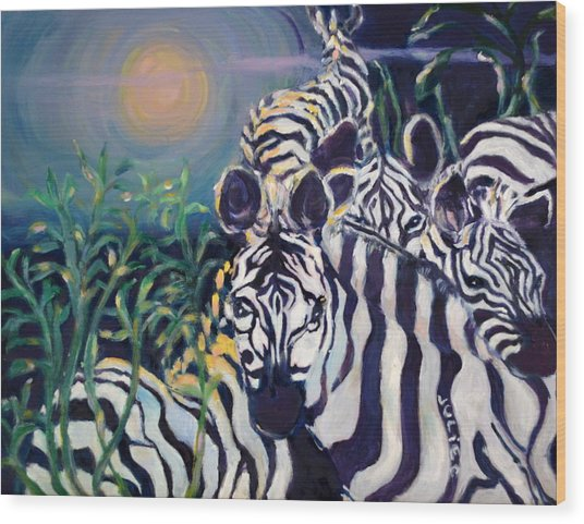 Zebras On The Savanna Wood Print