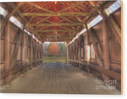 Sycamore Park Covered Bridge Wood Print