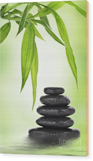 Zen Basalt Stones And Bamboo Wood Print