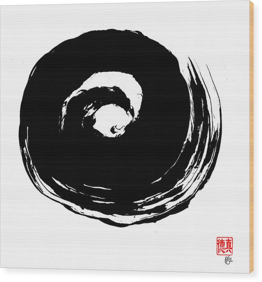 Zen Circle Wave Wood Print