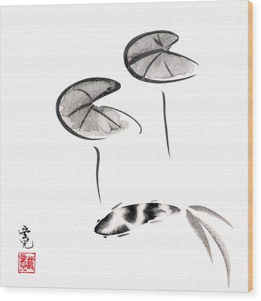 Zen Fish Painting Wood Print