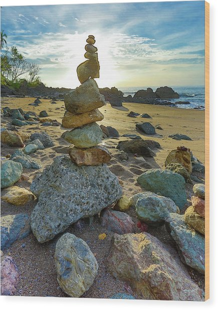 Zen Rock Balance Wood Print