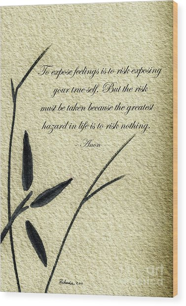 Zen Sumi 4m Antique Motivational Flower Ink On Watercolor Paper By Ricardos Wood Print