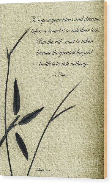 Zen Sumi 4n Antique Motivational Flower Ink On Watercolor Paper By Ricardos Wood Print