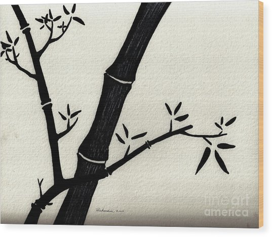 Zen Sumi Antique Bamboo 2a Black Ink On Fine Art Watercolor Paper By Ricardos Wood Print by Ricardos Creations