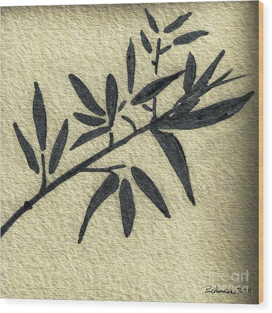 Zen Sumi Antique Botanical 4a Ink On Fine Art Watercolor Paper By Ricardos Wood Print