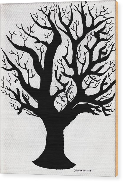 Zen Sumi Tree Of Life Enhanced Black Ink On Canvas By Ricardos Wood Print by Ricardos Creations