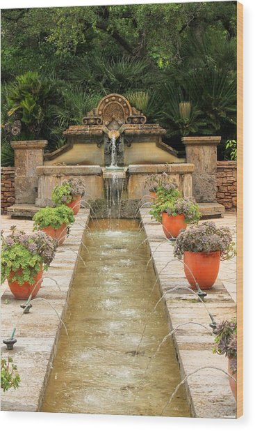 Zen Water Feature Waterfall Wood Print