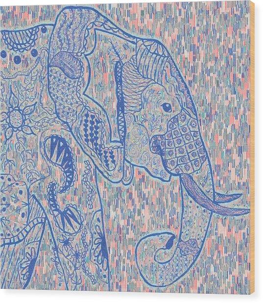 Zentangle Elephant-oil Wood Print