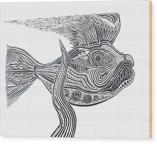 Zentangle Fish Wood Print