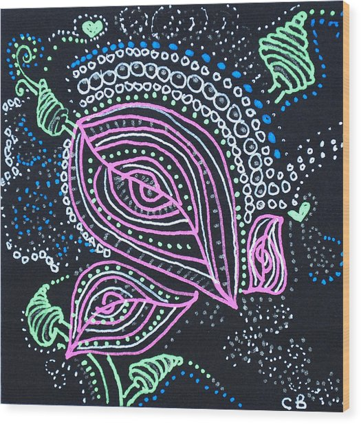 Zentangle Flower Wood Print
