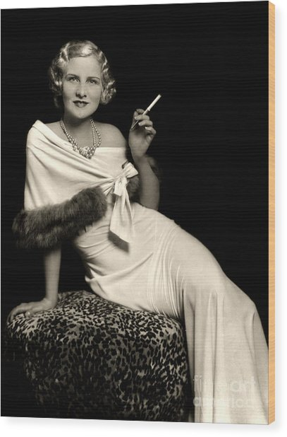 Ziegfeld Model Reclining In Evening Dress  Holding Cigarette By Alfred Cheney Johnston Wood Print