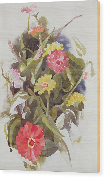 Zinnias Wood Print