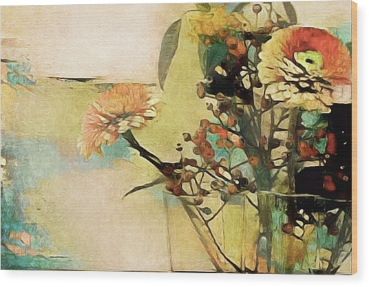 Wood Print featuring the mixed media Zinnias From The Garden by Susan Maxwell Schmidt