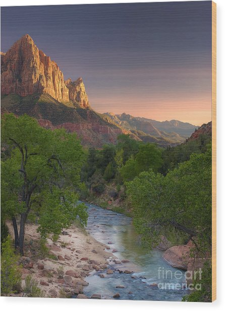 Zion Canyon Sunset Wood Print