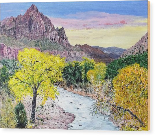 Zion Creek Wood Print