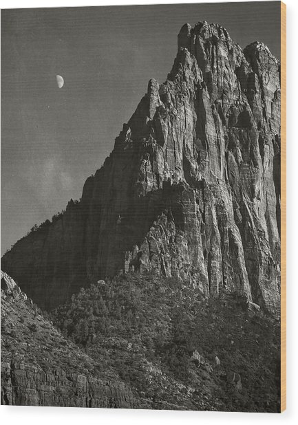 Zion Moonrise Wood Print by Mike McMurray