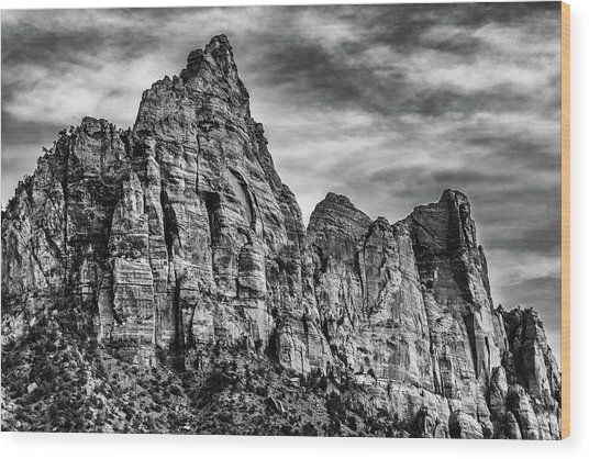 Zion Mountains 2bw  Wood Print by Don Risi
