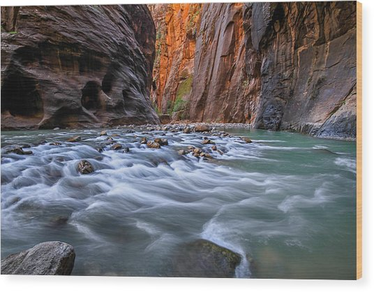 Wood Print featuring the photograph Zion Narrows by Wesley Aston