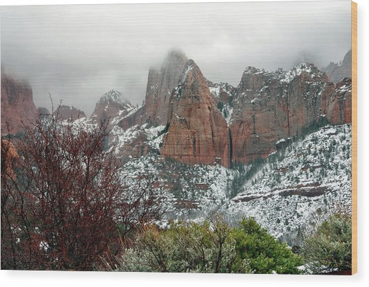 Zion Winter Skyline Wood Print