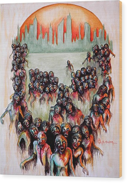 Zombie Apocalypse Wood Print
