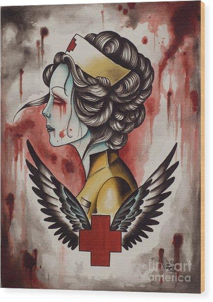 Zombie Nurse Wood Print