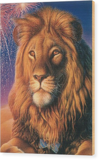 Zoofari Poster The Lion Wood Print