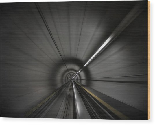 Zooming Along In The Tunnel Of Hope Wood Print