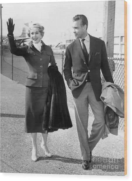 Zsa Zsa Gabor And Porfirio Rubirosa Arrive At Idlewild Airport From Ireland. 1954 Wood Print by Barney Stein