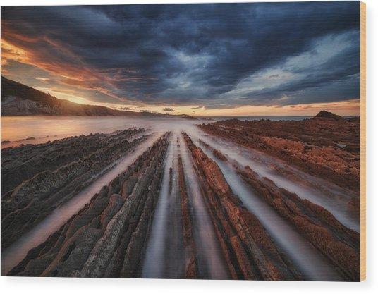 Zumaia Flysch 6 Wood Print by Juan Pablo De