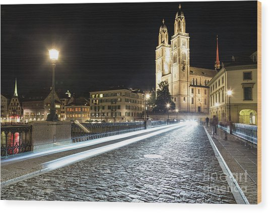 Zurich Night Rush In Old Town Wood Print