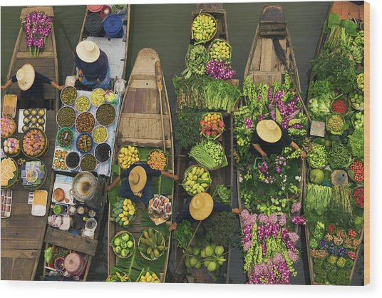 A Floating Market On A Canal In Wood Print by Mint Images - Art Wolfe