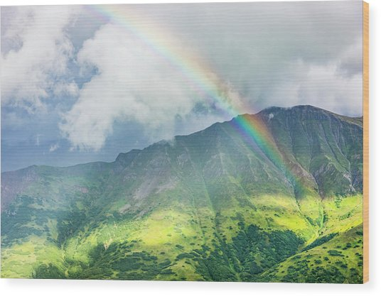 A Rainbow Shines Through Atmospheric Wood Print by Kevin G. Smith