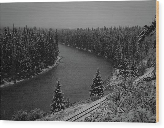 A View From The Side Of The Bow Valley Parkway, Banff National P Wood Print