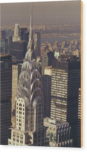 Aerial View Of The Chrysler Building Wood Print by New York Daily News Archive