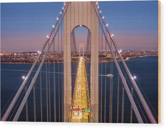 Aerial View Of Verrazzano Narrows Bridge Wood Print