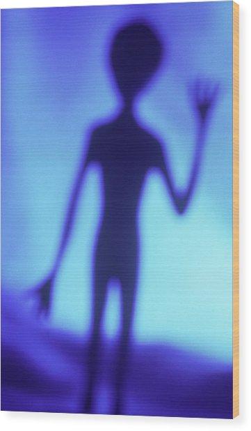 Alien Waving Wood Print by Steven Puetzer