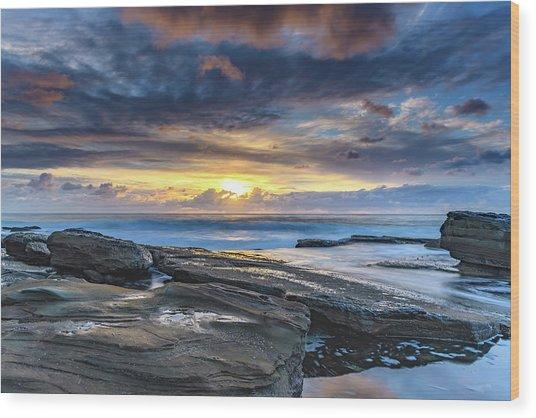 An Atmospheric Coastal Sunrise Wood Print