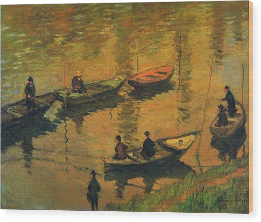 Anglers On The Seine At Poissy, 1882 Wood Print