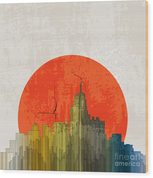 Apocalyptic Retro Poster. Sunset Wood Print