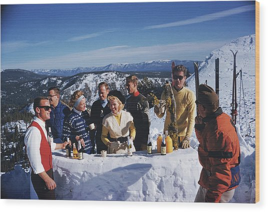 Apres Ski Wood Print by Slim Aarons
