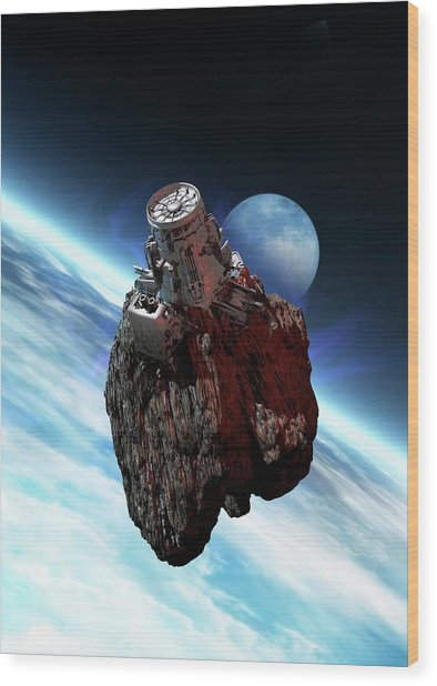 Asteroid Mining, Artwork Wood Print by Victor Habbick Visions