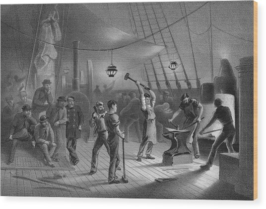 Atlantic Cable Laying Wood Print by Kean Collection