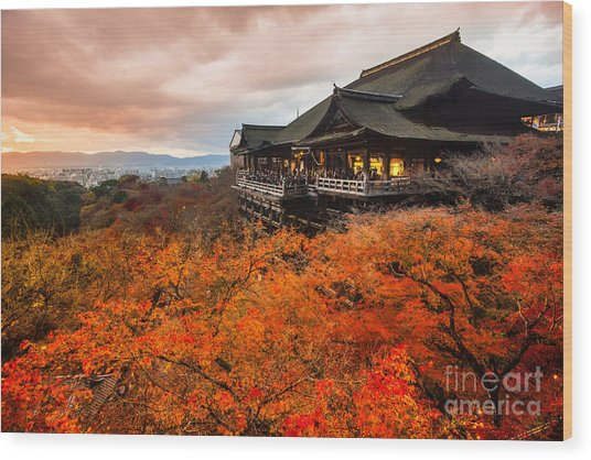 Autumn Color At Kiyomizu-dera Temple In Wood Print