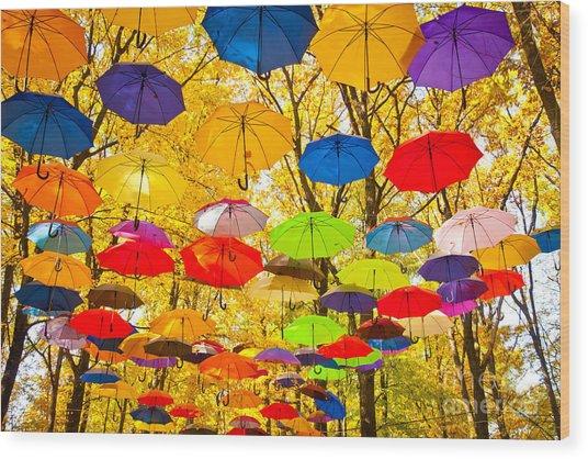 Autumn Umbrellas In The Sky Wood Print
