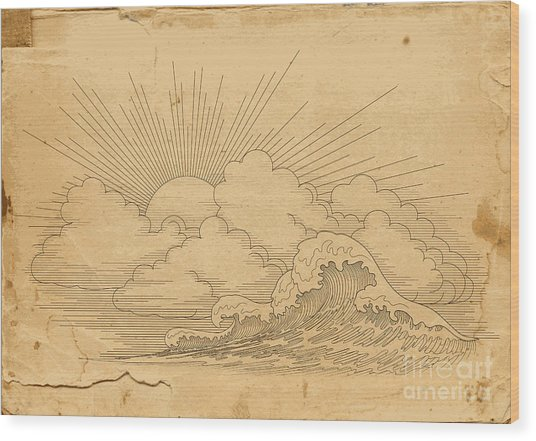 Background With Waves Wood Print